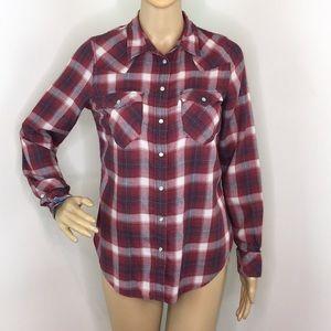 Levi Blue & Red Plaid Long Sleeve Shirt